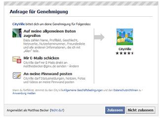 Neues Facebook Spiel Genehmigung