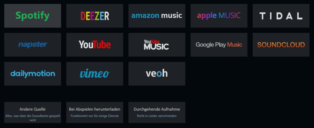 Musikstreaming Dienste aufnehmen