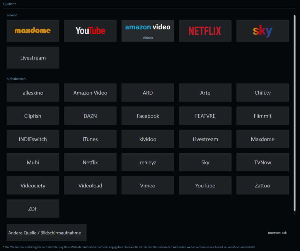 Videostreaming Dienste aufnehmen